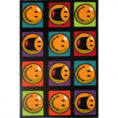 LA Rug Inc. Smiley Happy and Smiling Multi Colored 19 in. x 19 in. Accent Rug