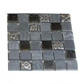 Splashback Tile Tapestry Opium Blend 1 in. x 1 in. Marble Glass And Metal Tiles - 6 in. x 6 in. Tile Sample