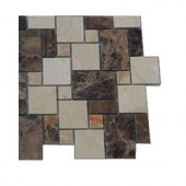 Splashback Tile Parisian Crema Marfil and Dark Emperador Blend Marble Floor and Wall Tile - 6 in. x 6 in. Tile Sample
