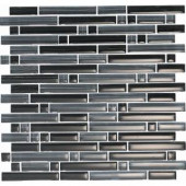 EPOCH Brushstrokes Nero-1501-S Strips Mosaic Glass Mesh Mounted - 4 in. x 4 in. Tile Sample