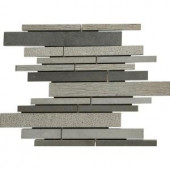 MS International Mystic Grey Interlocking 12 in. x 12 in. x 10 mm Natural Basalt Mosaic Floor and Wall Tile
