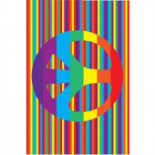 LA Rug Inc. Fun Time Groovy Peace Multi Colored 19 in. x 29 in. Area Rug