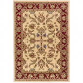 LR Resources Traditional Cream and Red 1 ft. 10 in. x 3 ft. 1 in. Plush Indoor Area Rug