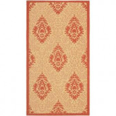 Safavieh Courtyard Natural/Red 2 ft. x 3.6 ft. Area Rug