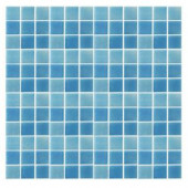 EPOCH Spongez S-Light Blue-1408 Mosiac Recycled Glass Mesh Mounted Floor & Wall Tile - 4 in. x 4 in. Tile Sample