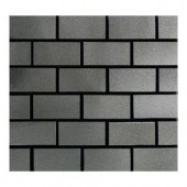 Daltile Urban Metals Stainless 12 in. x 12 in. x 8mm Metal Brick-Joint Mesh-Mounted Mosaic Wall Tile (10 sq. ft. / case)