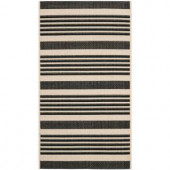 Safavieh Courtyard Black/Bone 2.6 ft. x 5 ft. Area Rug