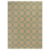 Kas Rugs Eloquent Squares Aqua/Beige 3 ft. 3 in. x 5 ft. 3 in. Area Rug