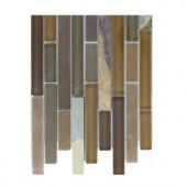 Splashback Tile Tectonic Harmony Multicolor Slate And Earth Blend Glass Tiles - 6 in. x 6 in. Tile Sample