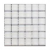 Splashback Tile Contempo Bright White Polished 1 in. x 1 in. Glass Tiles - 6 in. x 6 in. Tile Sample