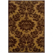 LR Resources Transitional Dark Yellow and Light Brown 1 ft. 10 in. x 3 ft. 1 in. Plush Indoor Area Rug
