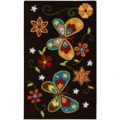 Nourison Butterfly Black 1 ft. 6 in. x 2 ft. 6 in. Area Rug