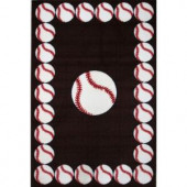 LA Rug Inc. Fun Time Baseball Time Multi Colored 19 in. x 29 in. Area Rug