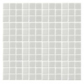 EPOCH Monoz M-White-1400 Mosiac Recycled Glass Mesh Mounted Floor & Wall Tile - 4 in. x 4 in. Tile Sample
