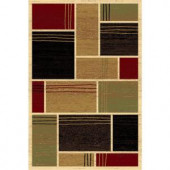 LA Rug Inc. 127/30 Melange Collection, multi-colored, with cream-colored solid outlines, 2 ft. x 4 ft. Indoor Runner