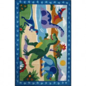 LA Rug Inc. Olive Kids Dinosaurland Multi Colored 19 in. x 29 in. Area Rug