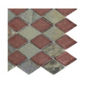 Splashback Tile Tectonic Diamond Multicolor Slate And Rust Glass Tiles - 6 in. x 6 in. Tile Sample