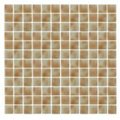 EPOCH Spongez S-Tan-1407 Mosiac Recycled Glass Mesh Mounted Floor & Wall Tile - 4 in. x 4 in. Tile Sample