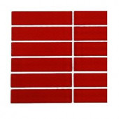 Splashback Tile Contempo Lipstick Red Polished 1 in. x 4 in. Glass Tile - 6 in. x 6 in. Tile Sample