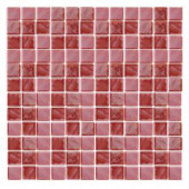 EPOCH Irridecentz I-Red-1415 Mosiac Recycled Glass Mesh Mounted Tile - 4 in. x 4 in. Tile Sample