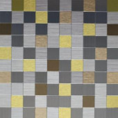 Instant Mosaic 12 in. x 12 in. Peel and Stick Brushed Stainless Champagne and Gold Metal Wall Tile