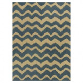 Kas Rugs Natural Wave Blue/Beige 2 ft. 3 in. x 3 ft. 9 in. Area Rug