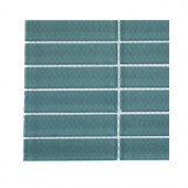 Splashback Tile Contempo Turquoise Polished Glass - 6 in. x 6 in. Tile Sample