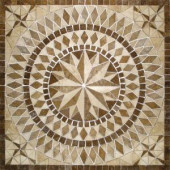 MS International Del Sol 36 in. x 36 in. Brown Travertine Medallion Mosaic Tile
