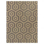 Kas Rugs Eloquent Lines Slate/Beige 6 ft. 6 in. x 9 ft. 6 in. Area Rug