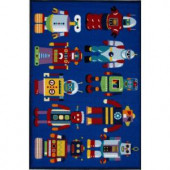 LA Rug Inc. Olive Kids Go Robots Multi Colored 19 in. x 29 in. Area Rug