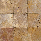 MS International 4 In. x 4 In. Tumbled Gold Travertine Floor & Wall Tile