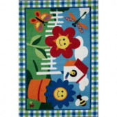 LA Rug Inc. Olive Kids Happy Flowers Multi Colored 19 in. x 29 in. Accent Rug