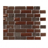 Splashback Tile Penny Pottery Brick Pattern 1/2 in. x 2 in. Marble And Glass Tile - 6 in. x 6 in. Tile Sample