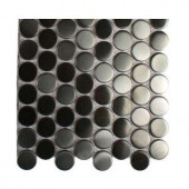 Splashback Tile Metal Silver Stainless Steel 3-5 Penny Round Tiles - 6 in. x 6 in. Tile Sample