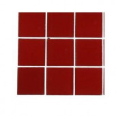 Splashback Tile Contempo Lipstick Red Frosted Glass - 6 in. x 6 in. Tile Sample