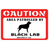 Bungalow Flooring Printed Caution: Black Lab 17.5 in. x 26.5 in. Pet Mat