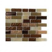 Splashback Tile Southern Comfort Brick Pattern 1/2 in. x 2 in. Marble And Glass Tile - 6 in. x 6 in. Tile Sample