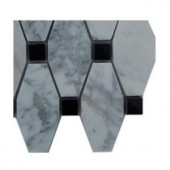 Splashback Tile Artois Pattern White Carrera With Black Dot Marble Tile - 6 in. x 6 in. Tile Sample