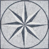 MS International Black & White Star Medallion 24 in. x 24 in. Tumbled Marble Floor & Wall Tile