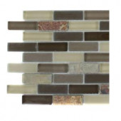 Splashback Tile Tectonic Brick Multicolor Slate And Khaki Blend Glass Tiles - 6 in. x 6 in. Tile Sample