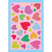 LA Rug Inc. Fun Time Hearts Pink 19 in. x 29 in. Accent Rug