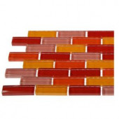 Splashback Tile Contempo Sashimi 1/2 in. x 2 in. Polished Glass Tiles In Brick Pattern - 6 in. x 6 in. Tile Sample