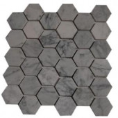 Splashback Glass Tile Hexagon White Carrera Mesh-Mounted Mosaic Floor and Wall Tile - 4 in. x 6 in. Tile Sample