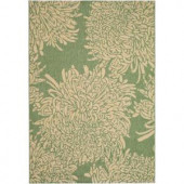 Martha Stewart Living Chrysanthemum Green and Sand 5 ft. 3 in. x 7 ft. 7 in. Area Rug