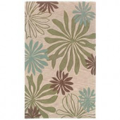 LR Resources Flowing Flower Design, Blue and Ivory Color 7 ft. 9 in. x 9 ft. 9 in. Indoor Area Rug
