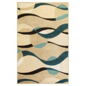Kas Rugs Planet Sphere Ivory/Blue 2 ft. 3 in. x 3 ft. 9 in. Area Rug