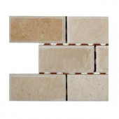 Splashback Tile Crema Marfil 2 in. x 4 in. Chamfered Marble Mosaic Tiles - 6 in. x 6 in. Tile Sample