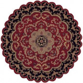 LR Resources Traditional Shape Red and Black 7 ft. 9 in. Star Plush Indoor Area Rug