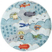 Momeni Caprice Collection Sky 5 ft. x 5 ft. Round Area Rug