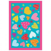 LA Rug Inc. Fun Time Hearts Turquoise 19 in. x 29 in. Accent Rug